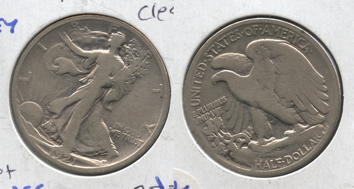 1921-D Walking Liberty Half Dollar Good-4 #c Cleaned