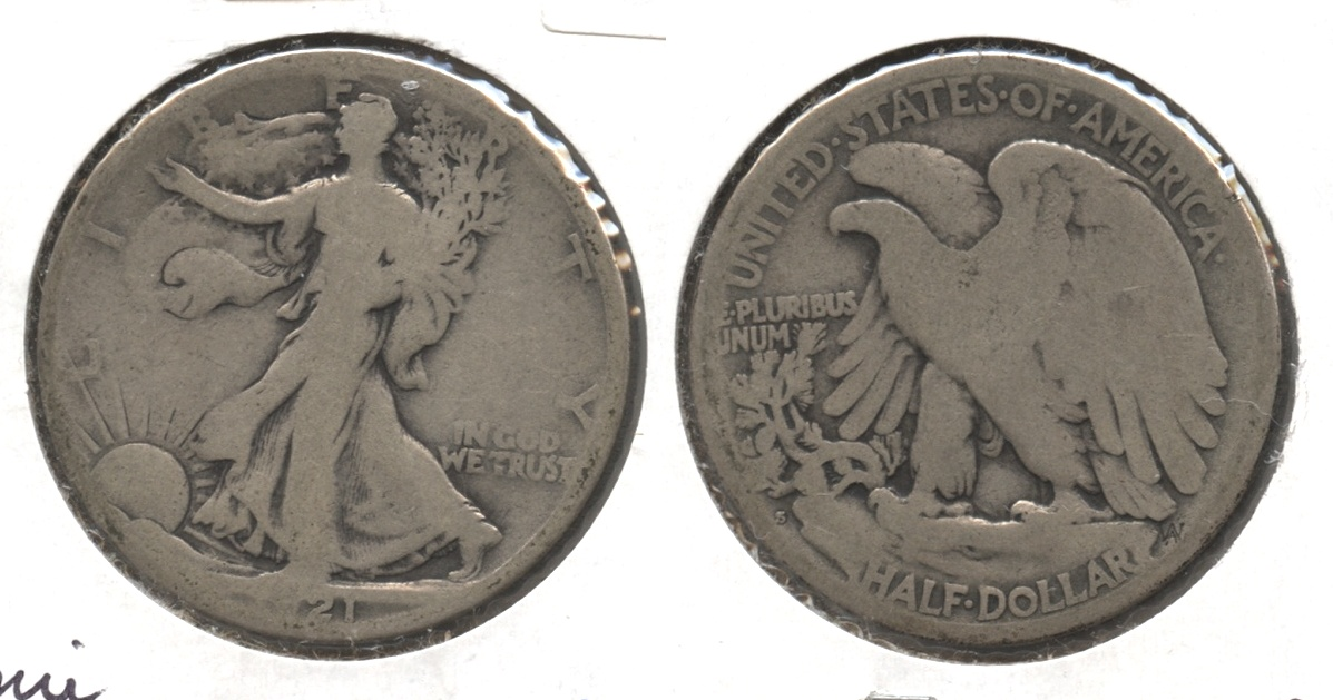 1921-S Walking Liberty Half Dollar AG-3 #k