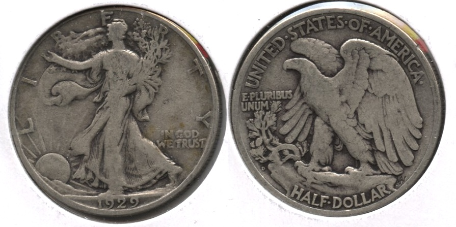 1929-D Walking Liberty Half Dollar VG-8 a