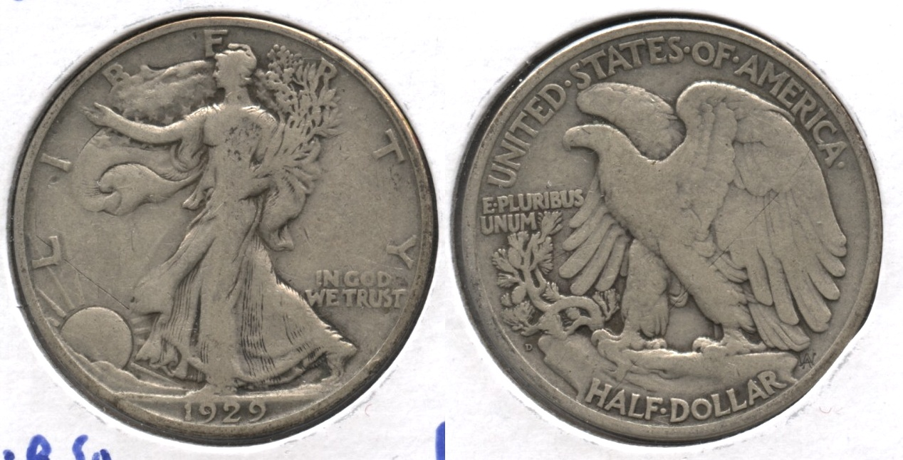 1929-D Walking Liberty Half Dollar VG-8 #f