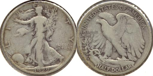 1929-S Walking Liberty Half Dollar Fine-12