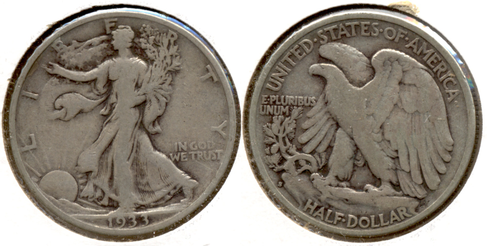 1933-S Walking Liberty Half Dollar Fine-12 e