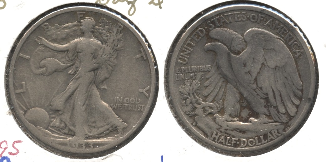 1933-S Walking Liberty Half Dollar Fine-12 #q