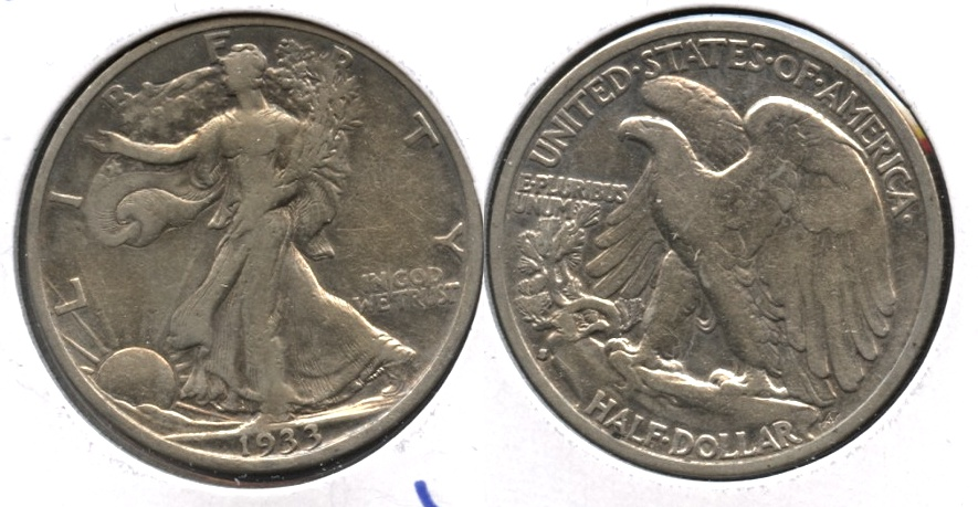 1933-S Walking Liberty Half Dollar VF-20 b Cleaned