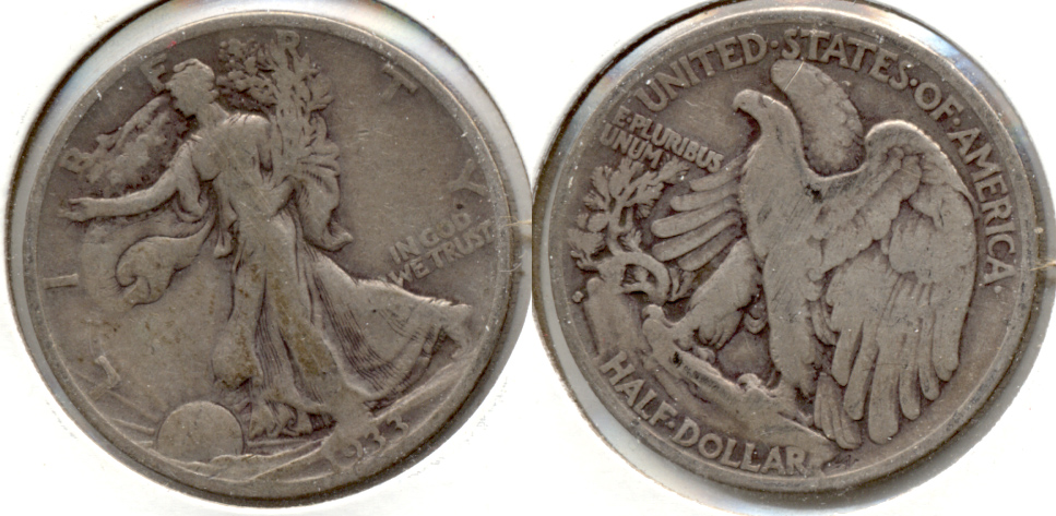 1933-S Walking Liberty Half Dollar VG-8 f