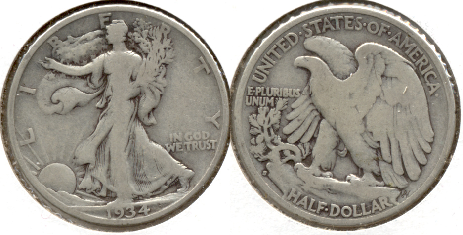 1934-S Walking Liberty Half Dollar VG-8