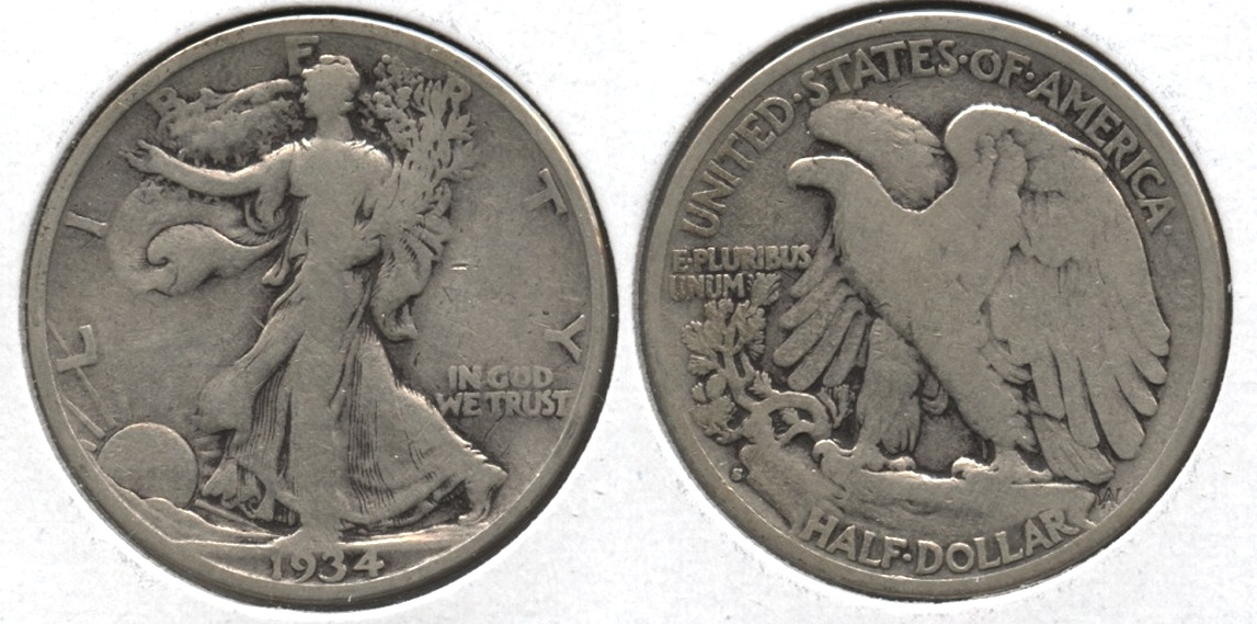 1934-S Walking Liberty Half Dollar VG-8 #d