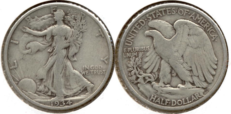 1934 Walking Liberty Half Dollar Fine-12 f
