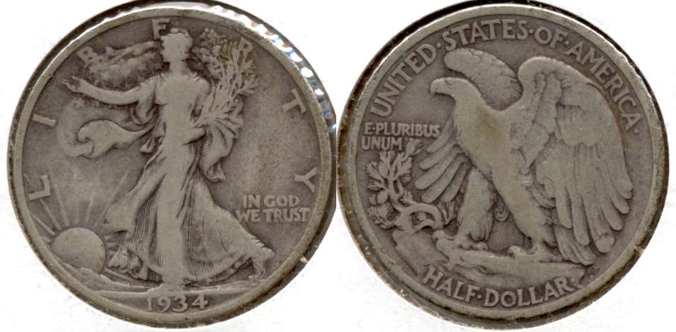 1934 Walking Liberty Half Dollar Fine-12 o