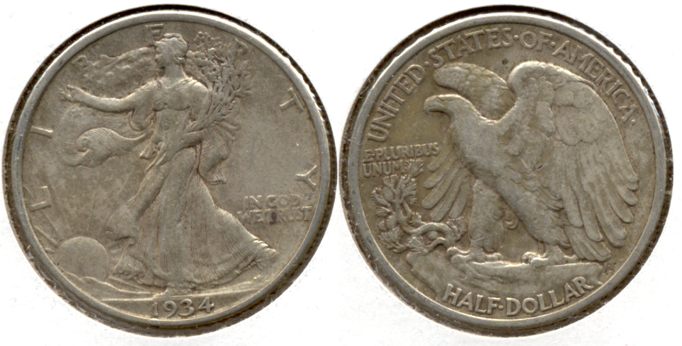 1934 Walking Liberty Half Dollar VF-20 g