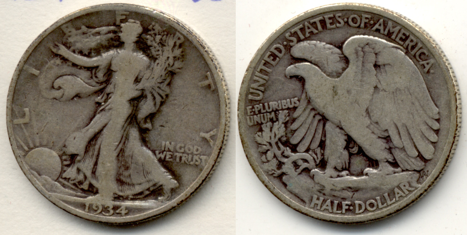 1934 Walking Liberty Half Dollar VG-8 a