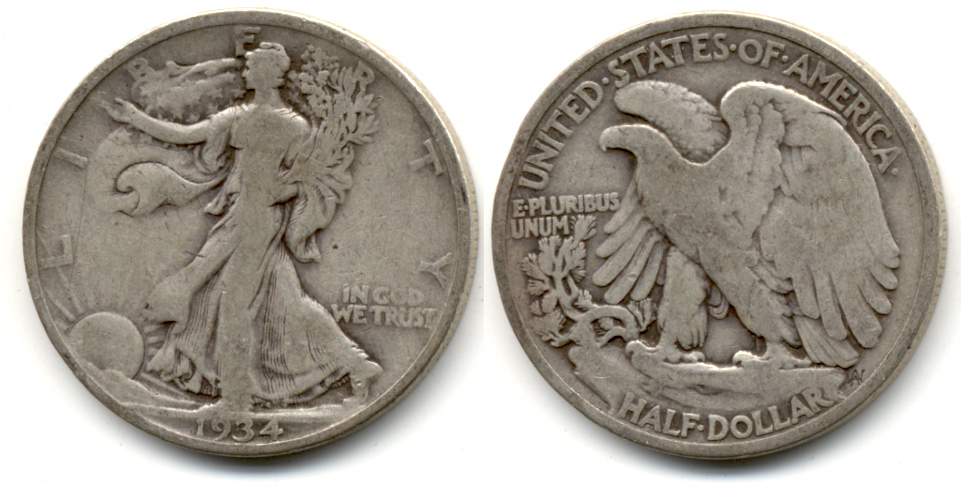 1934 Walking Liberty Half Dollar VG-8 d