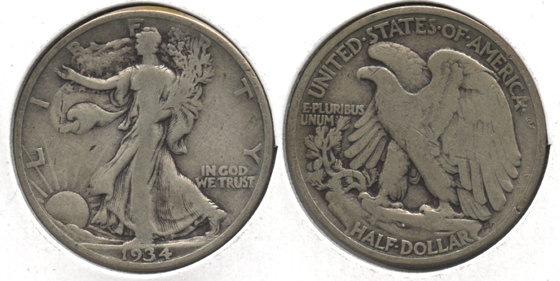 1934 Walking Liberty Half Dollar VG-8 #s