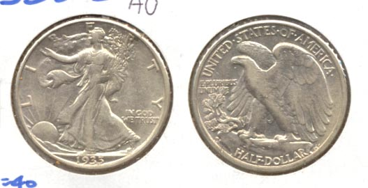 1935-D Walking Liberty Half Dollar AU-50