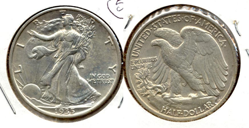 1935 Walking Liberty Half Dollar AU-55 b