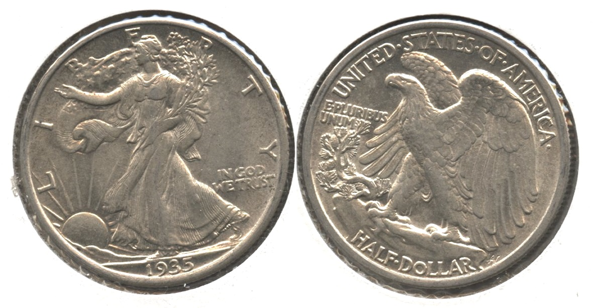 1935 Walking Liberty Half Dollar AU-55 #e