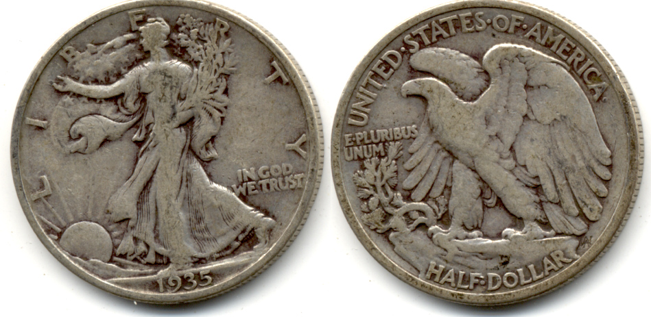 1935 Walking Liberty Half Dollar VG-8 d