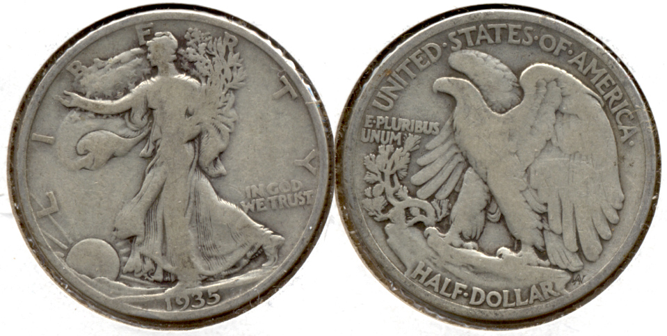 1935 Walking Liberty Half Dollar VG-8 t