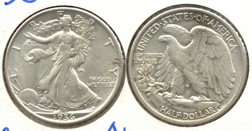 1936 Walking Liberty Half Dollar AU-50 a