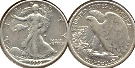 1936 Walking Liberty Half Dollar EF-40 a