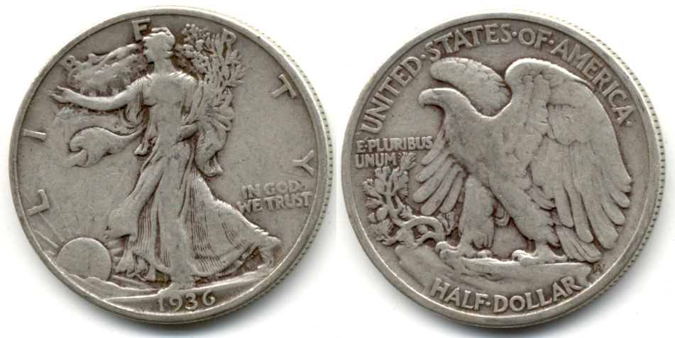 1936 Walking Liberty Half Dollar Fine-12 c