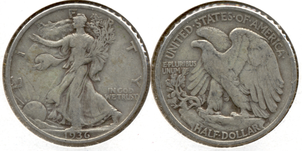 1936 Walking Liberty Half Dollar Fine-12 g