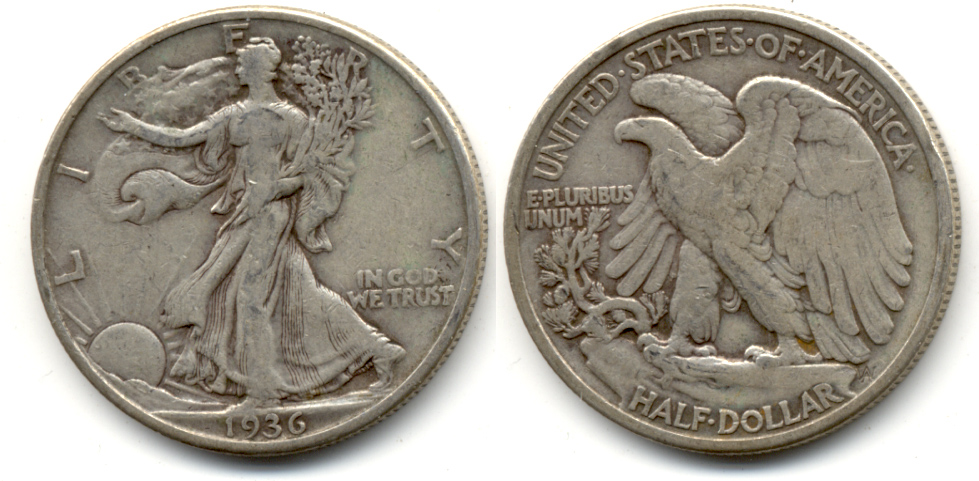 1936 Walking Liberty Half Dollar Fine-12 h