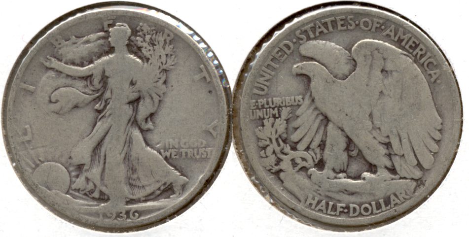 1936 Walking Liberty Half Dollar Good-4 b