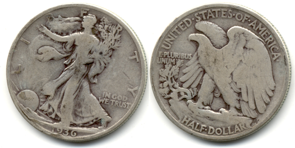 1936 Walking Liberty Half Dollar VG-8 k