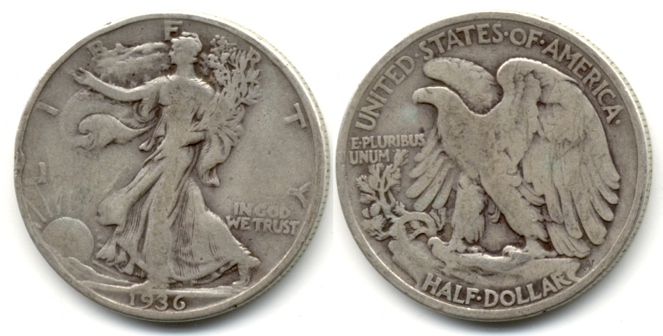 1936 Walking Liberty Half Dollar VG-8 m
