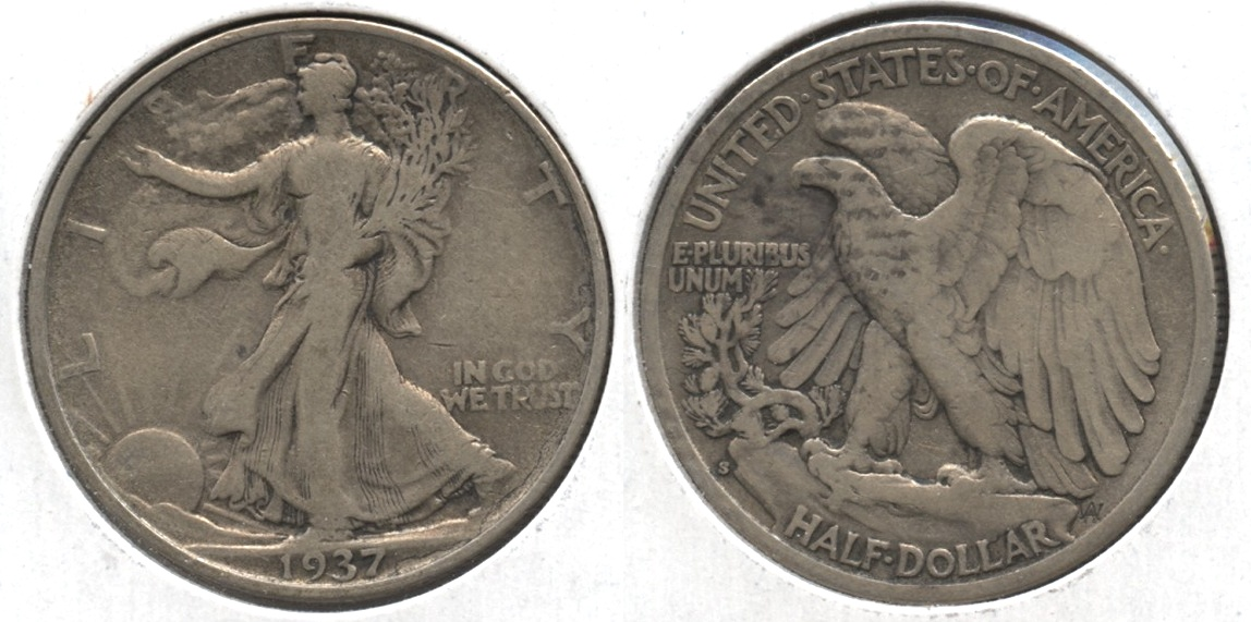 1937-S Walking Liberty Half Dollar Fine-12 #c Cleaned