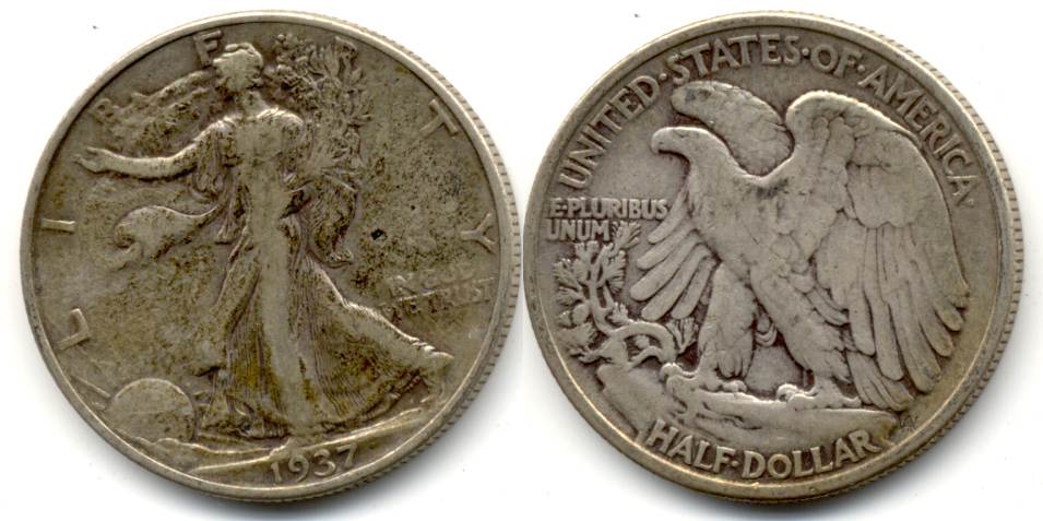 1937 Walking Liberty Half Dollar Fine-12 b