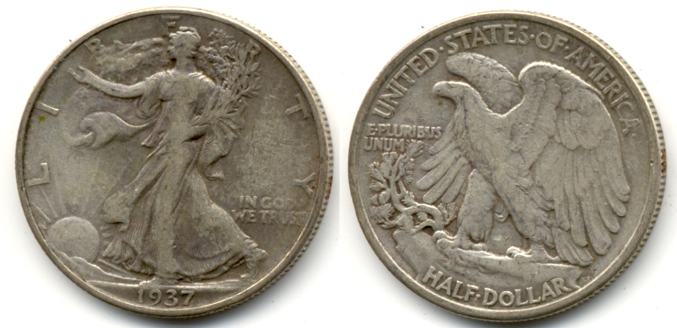 1937 Walking Liberty Half Dollar Fine-12 f