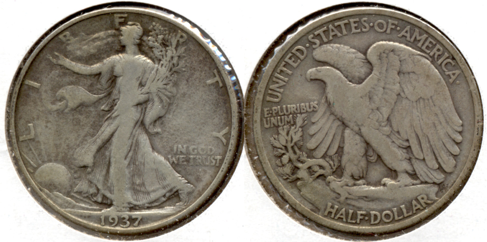 1937 Walking Liberty Half Dollar Fine-12 r