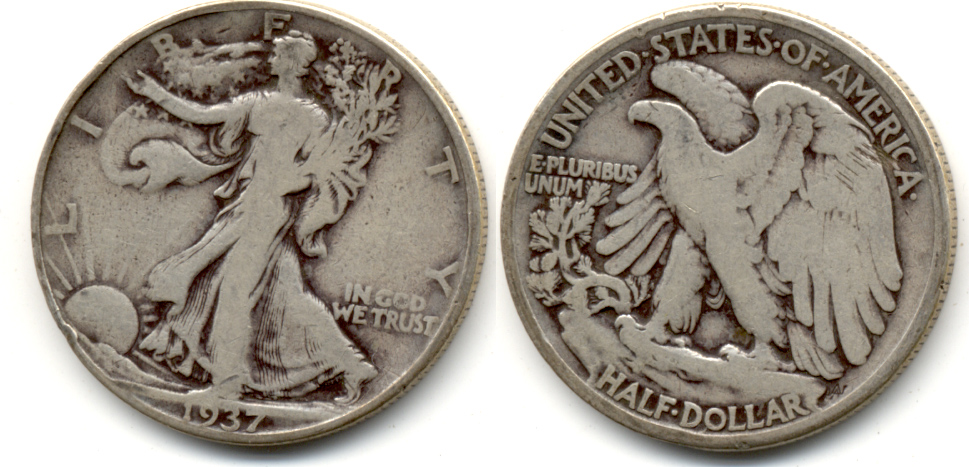 1937 Walking Liberty Half Dollar Good-4 b