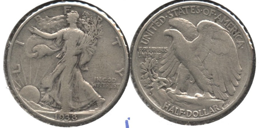 1938-D Walking Liberty Half Dollar Fine-12 d Old Cleaning