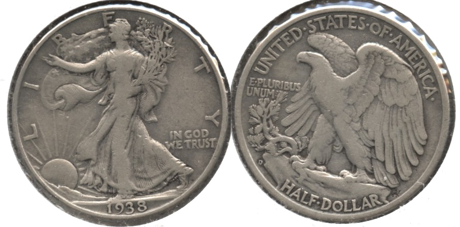 1938-D Walking Liberty Half Dollar Fine-12 f