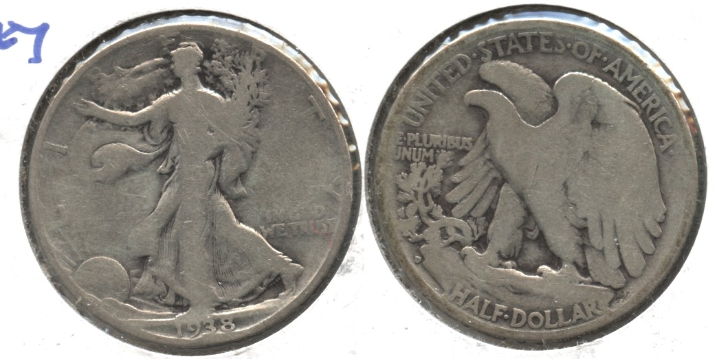1938-D Walking Liberty Half Dollar Good-4