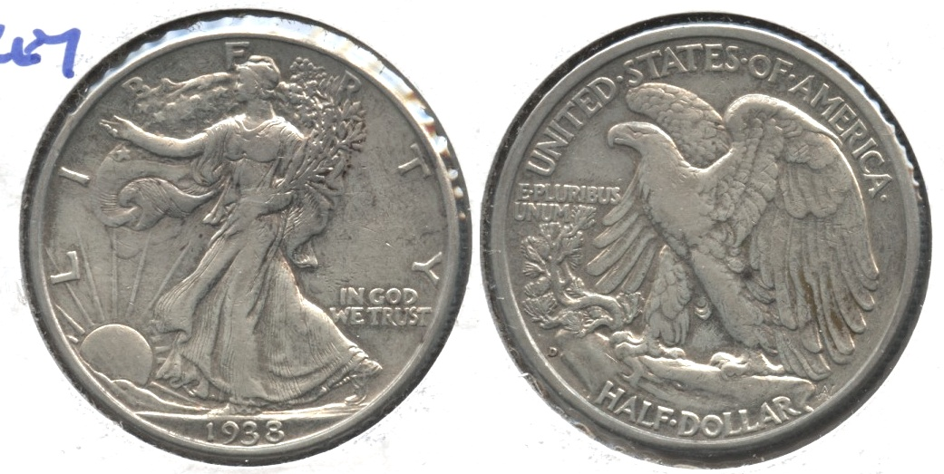 1938-D Walking Liberty Half Dollar VF-20 #c
