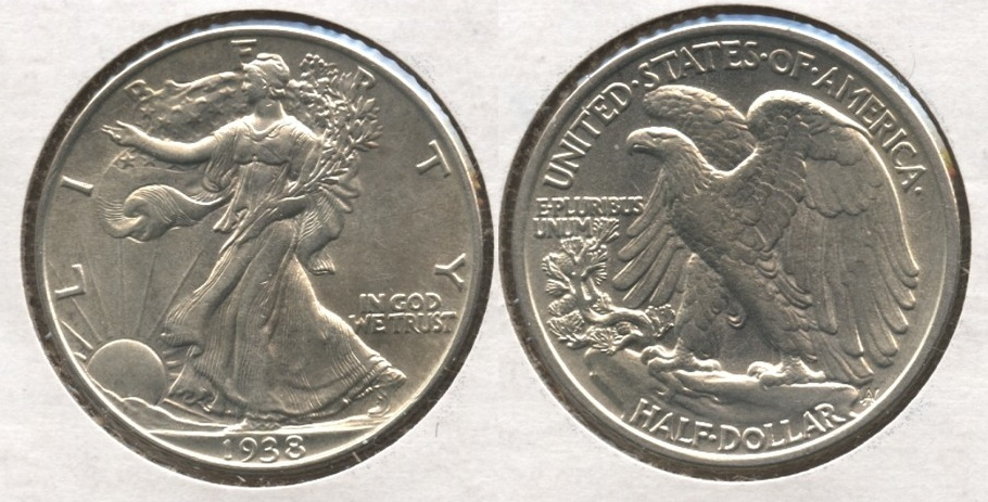 1938 Walking Liberty Half Dollar AU-50 Obverse Scratch #a