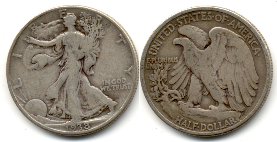 1938 Walking Liberty Half Dollar VG-8 d