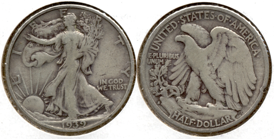 1939-S Walking Liberty Half Dollar Fine-12 a