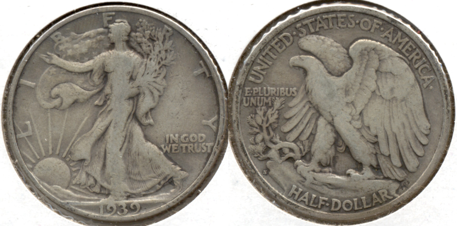 1939-S Walking Liberty Half Dollar Fine-12 v