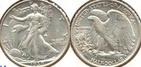 1939 Walking Liberty Half Dollar AU-50 d