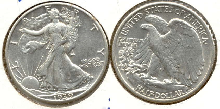 1939 Walking Liberty Half Dollar AU-50 f