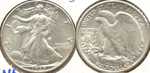 1939 Walking Liberty Half Dollar AU-55 b