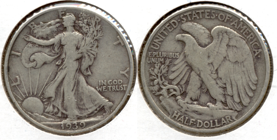1939 Walking Liberty Half Dollar Fine-12 a