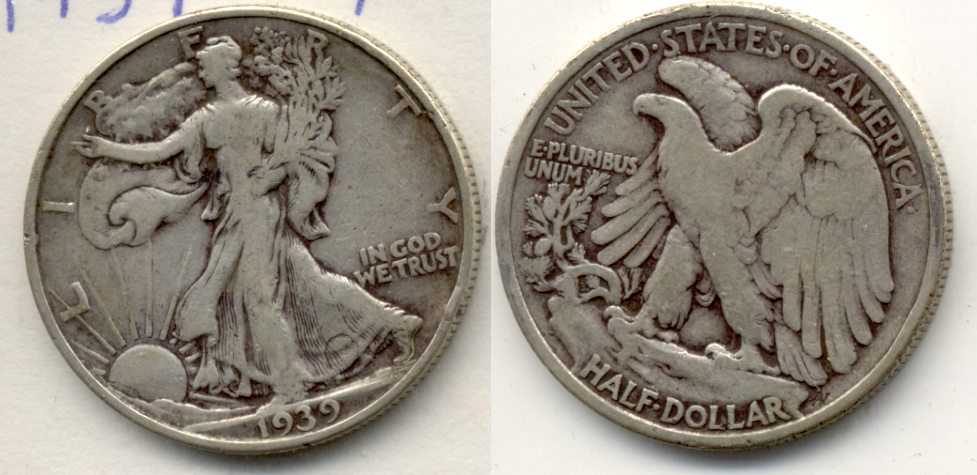 1939 Walking Liberty Half Dollar Fine-12 b