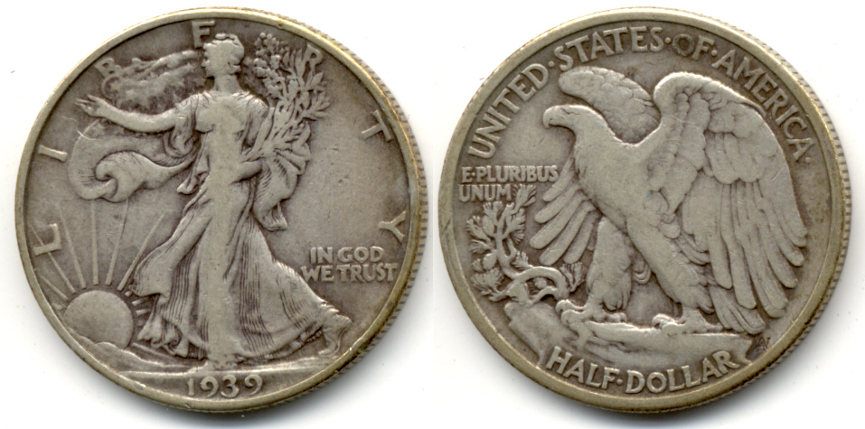1939 Walking Liberty Half Dollar Fine-12 h