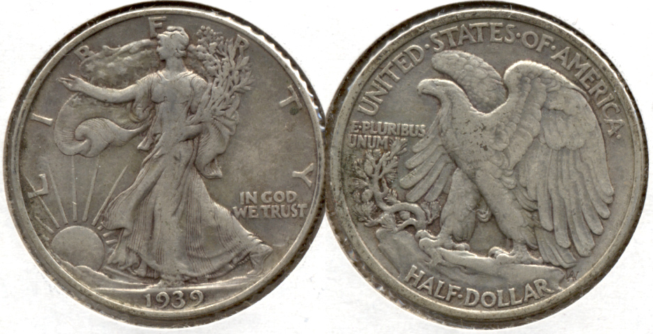 1939 Walking Liberty Half Dollar Fine-15 a